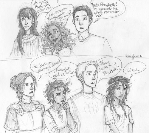On top : (Left to right) Reyna, Hazel, and Frank. On Bottom: (Left to right) Clarisse, Leo, Jason, and Piper. When they see Percy and Annabeth together again... :D