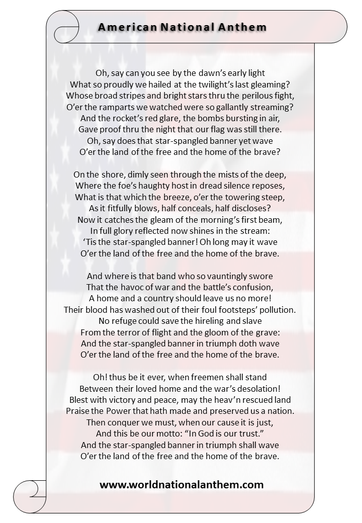 American National Anthem | hymn of USA | Pinterest ...
