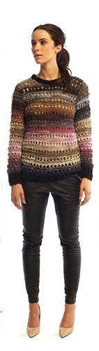 skinny de piel + suéter + pumps en color nude / colección S2012 Heidi Merrick