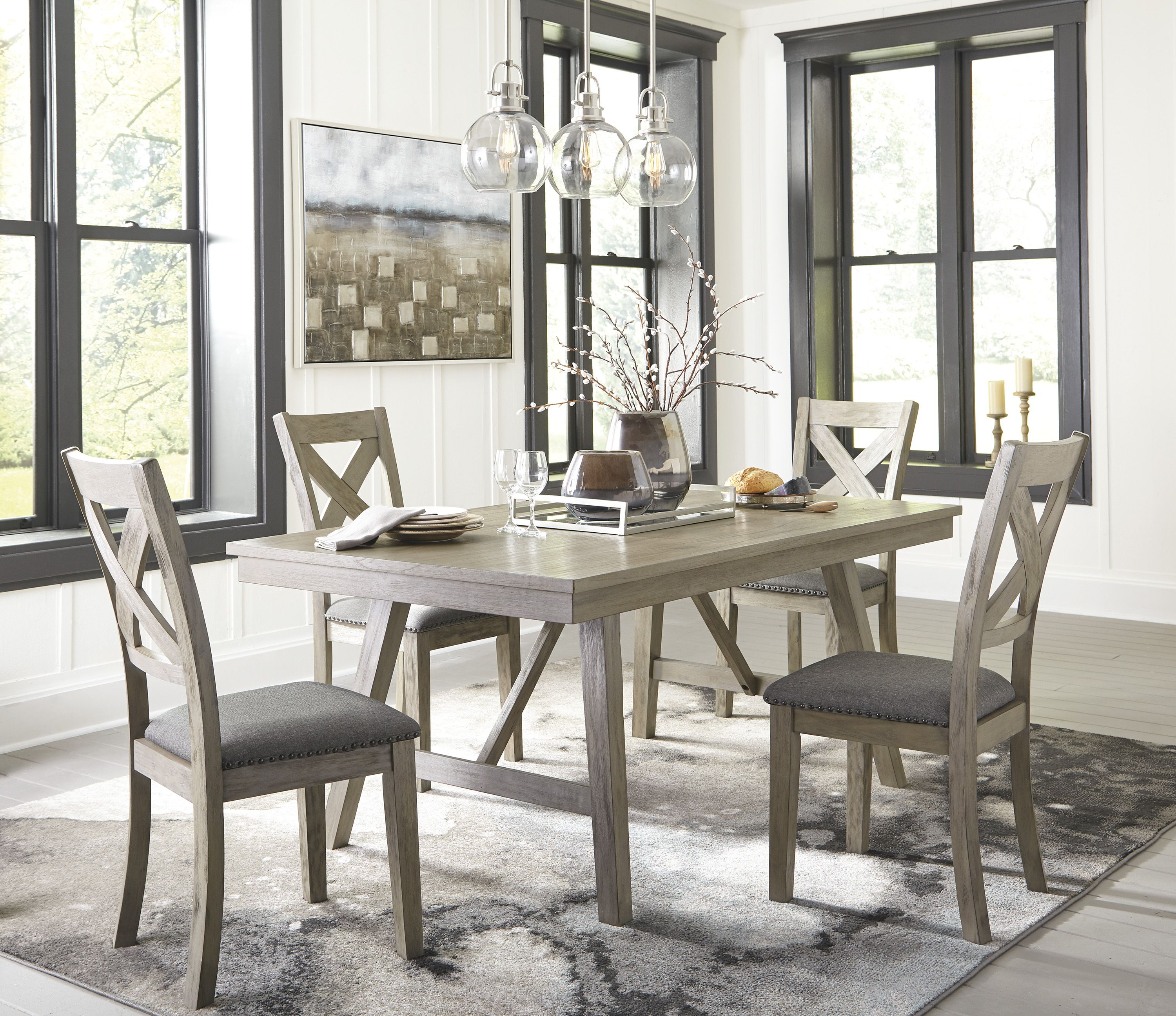 Modern Farmhouse Never Looked Better The Aldwin 5 Piece Dining Allures With It S Wi Rectangular Dining Room Table Dining Room Sets Rectangular Dining Room Set