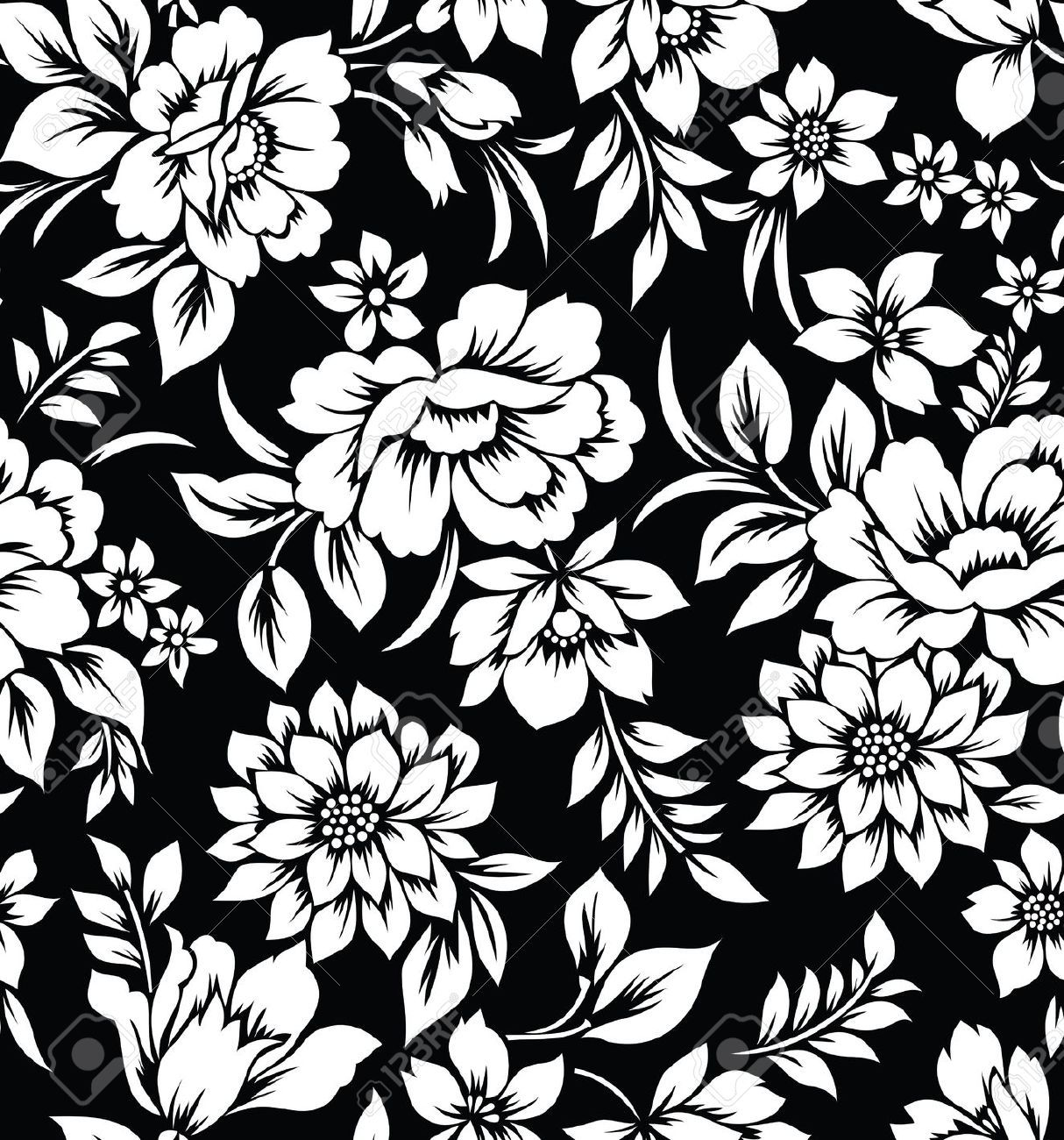 black white flowers Floral wallpaper, Vintage floral