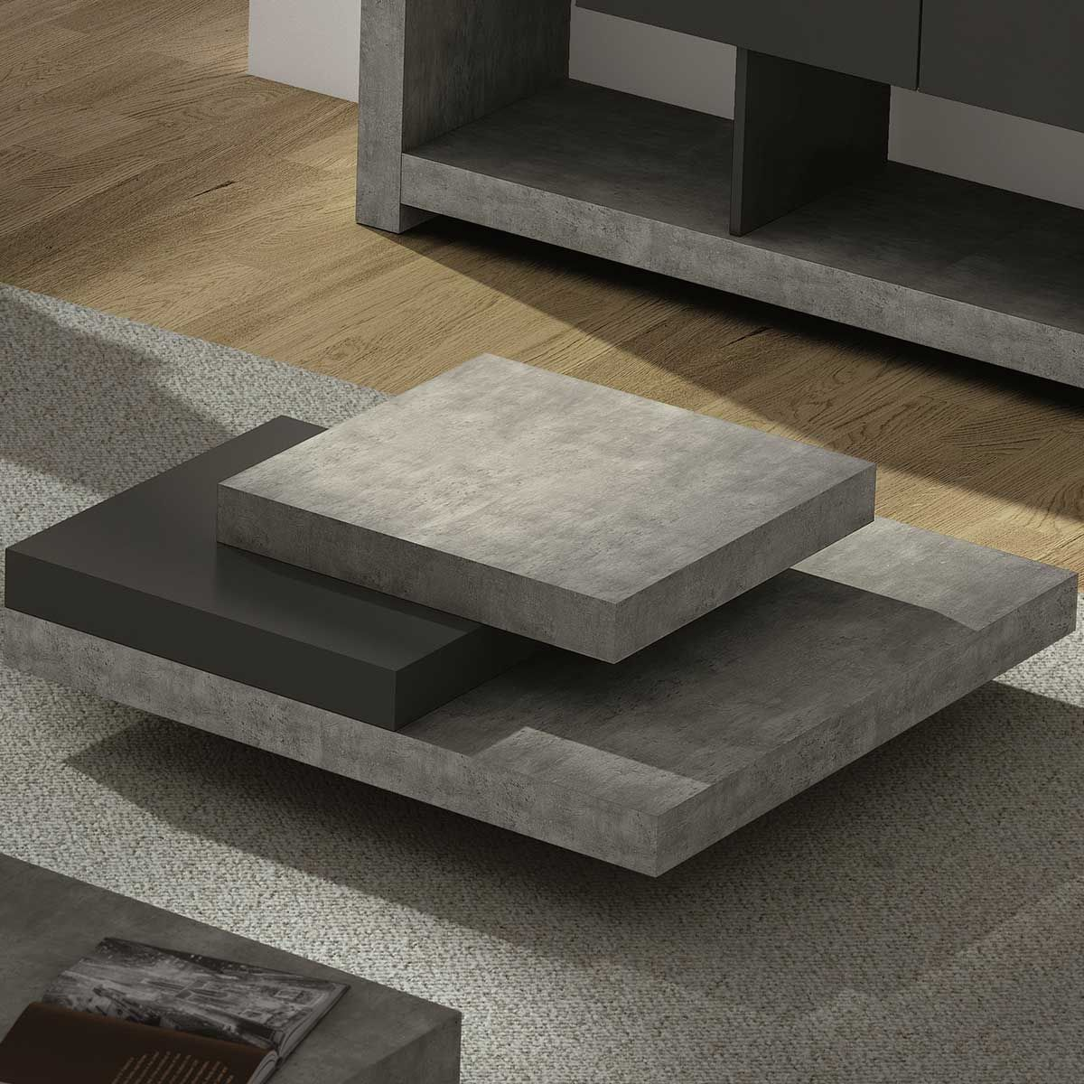 table basse slate table basse carr e effet b ton slate. Black Bedroom Furniture Sets. Home Design Ideas