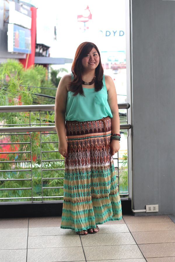 Plus Size Asian Blogger Tribal Print Maxi Skirt How To Wear Maxi