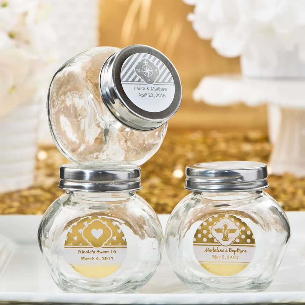 Personalized Metallics Collection Glass Candy Jars With Silver Screw