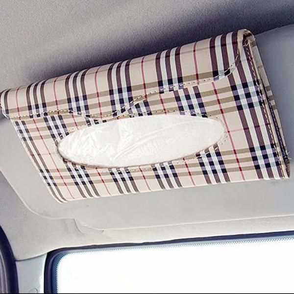 Car Tissue Box Holder Paper Napkin Faux Leather Case Sun Visor Auto Accessories