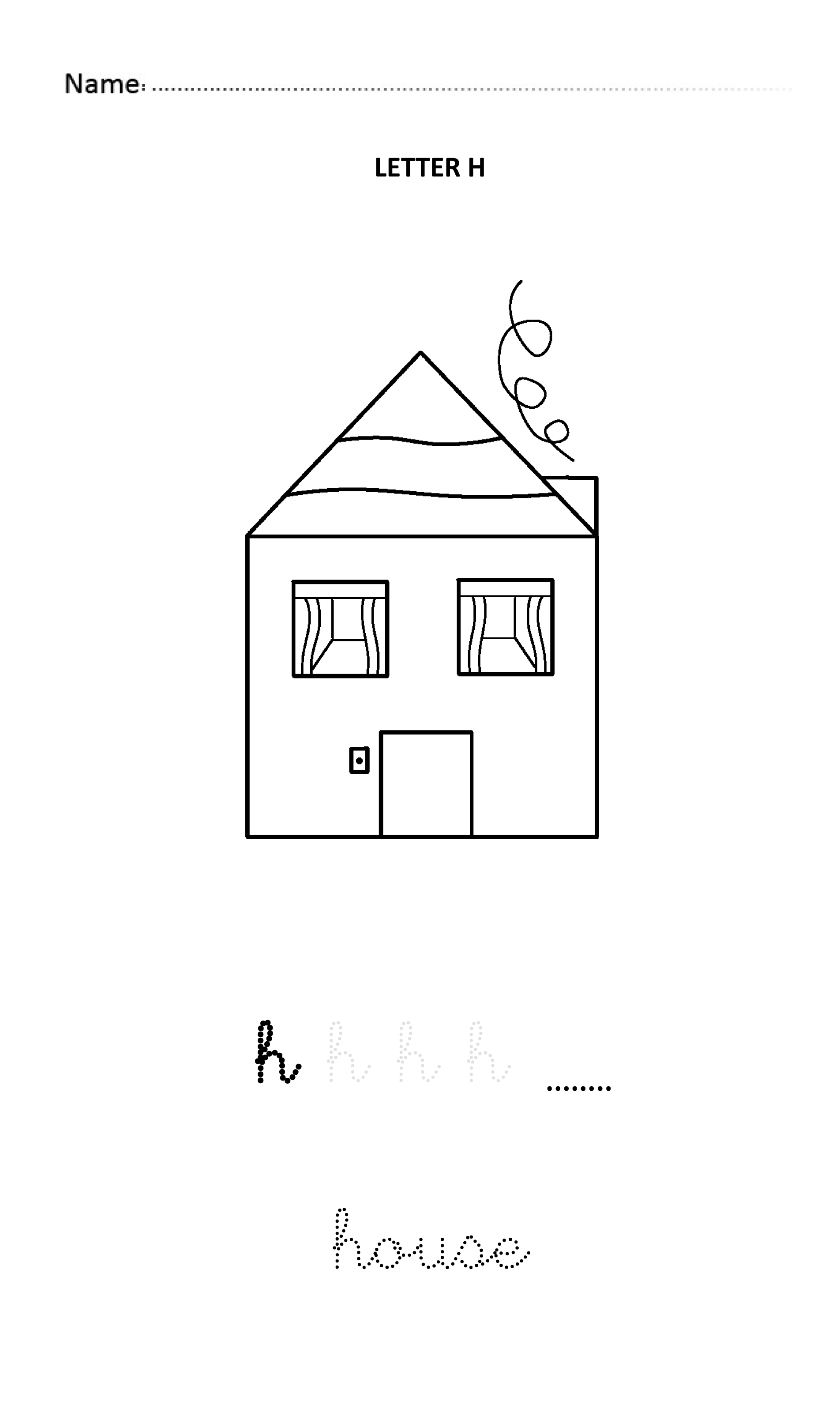 Letter H Easy And Visual Colouring Worksheet For Early