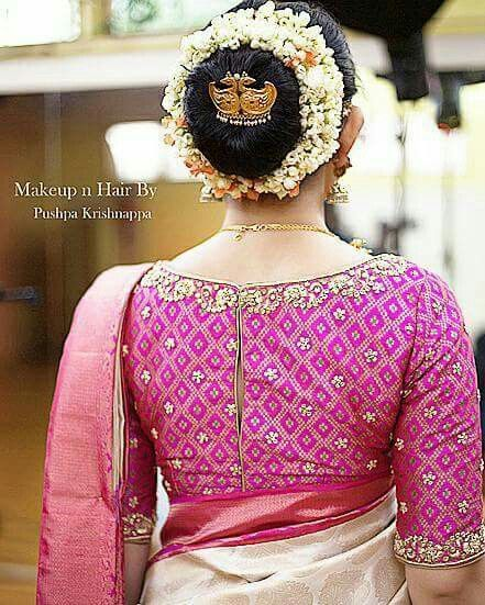 Wedding Kondai Hairstyle: What A Beautiful Large Low Bun With Real Flower Gajra
