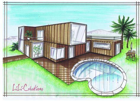 C\u0027est une habitation faite de 7 containers, pour une surface totale