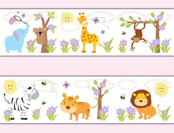 Jungle Animals Wallpaper Border Wall Decals Baby Stickers