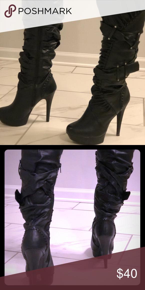 """48c1474e2b9 Black platform 5"""" zip up high heel boots. 5"""" high with inner leg zipper"""