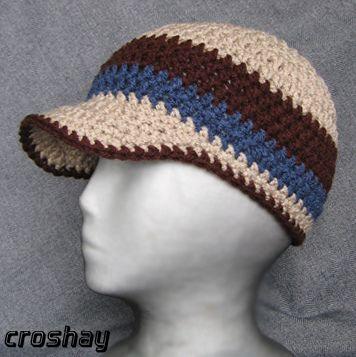 Crocheted Beanie With Bill Crochet Hats Crochet Crochet Hat Pattern