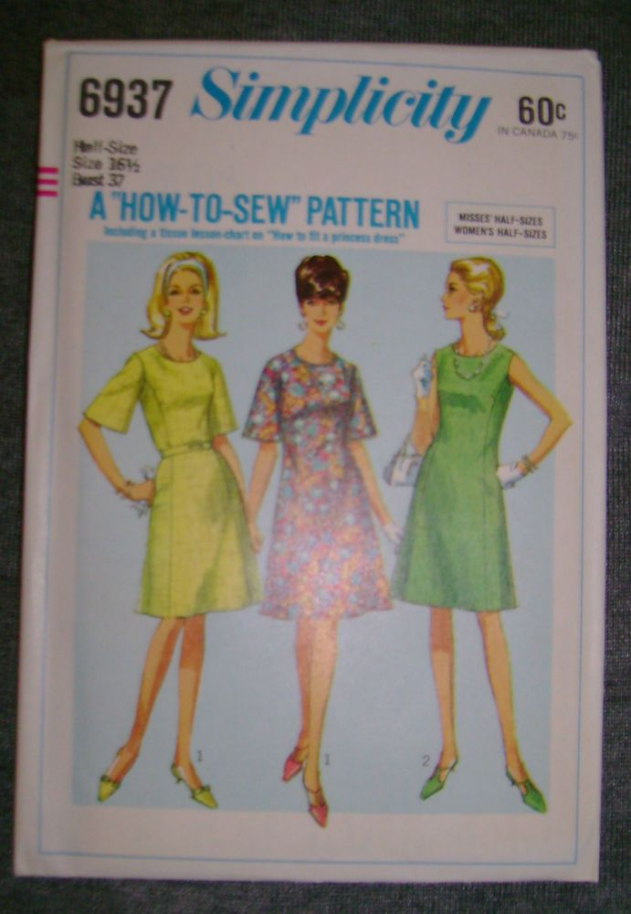 Vintage Simplicity 1 Pc Dress Frock Fabric Sewing Pattern Sz 16.5...37 b # 6937