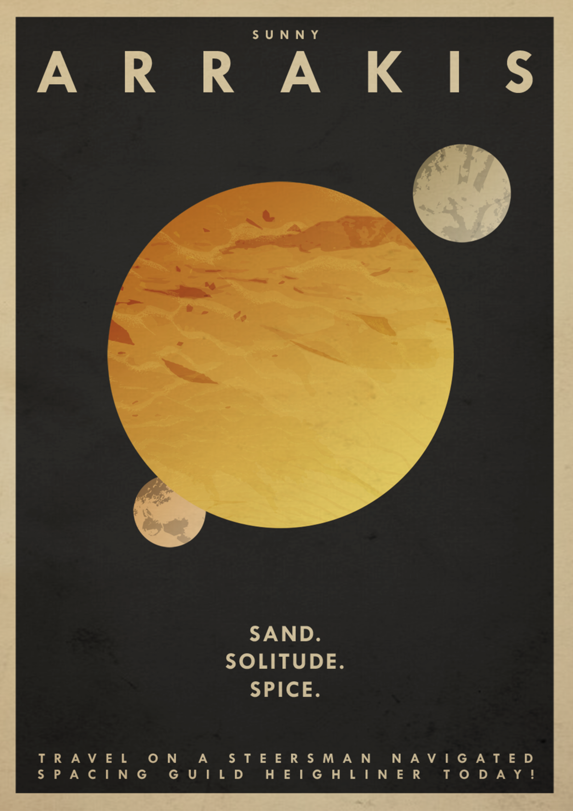 Illustration for article titled Take a vacation to Arrakis with Dune travel posters