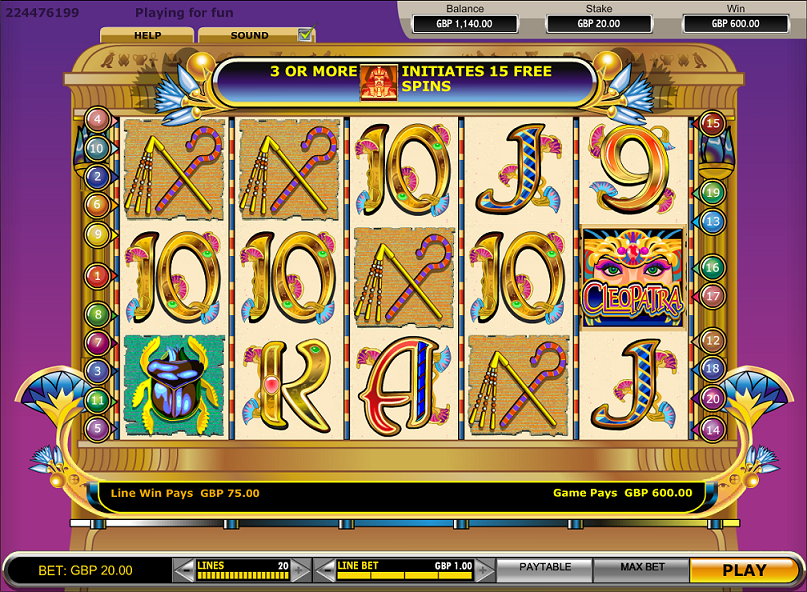Experience Ancient Egypt with Cleopatra, a 20payline