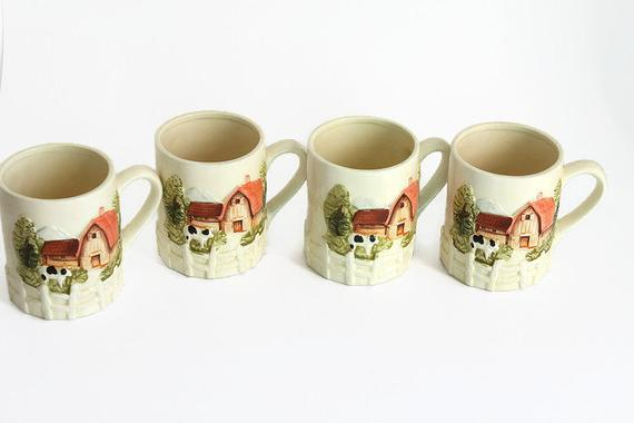 Vintage Farm Motif Coffee Mugs Made Japan Set Of 4 Retro Coffee