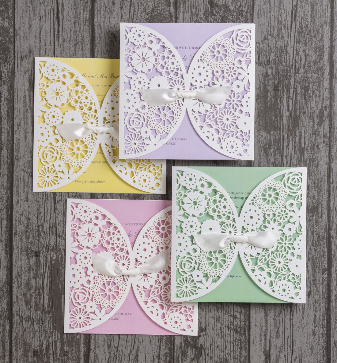 Vintage Lace Laser Cut Personalised Wedding Invitations Purple Yellow Green And Pink Inserts
