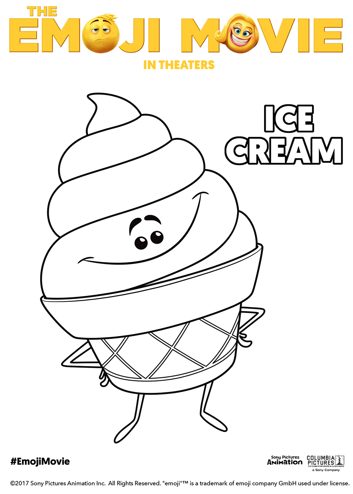 The Emoji Movie Ice Cream Coloring Pages