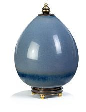 Royal Copenhagen   Knud Andersen, Nils Thorsson: Lidded Stoneware vase with stand, decorated with blue glaze. H. 26 cm.
