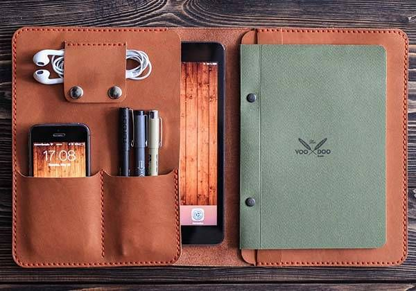 The Handmade Leather Ipad Mini Case Holds Your Phone Tablet