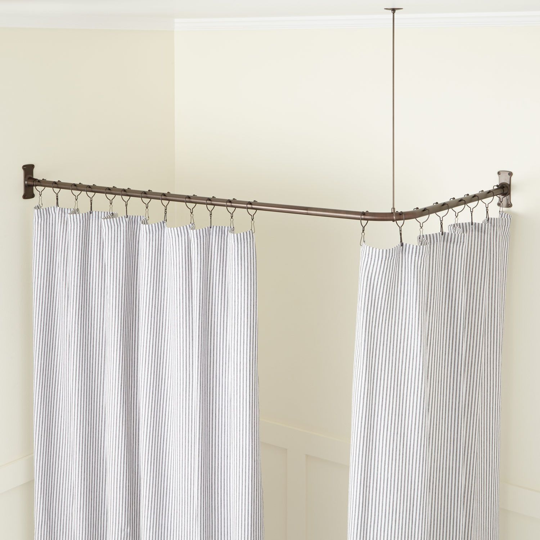 Corner Solid Brass Commercial Grade Shower Curtain Rod Shower Curtain Rods Bathroom Shower Curtain Rods Curtain Rods Shower Rod