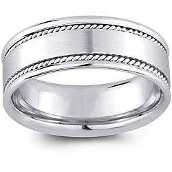 14k White Gold Mens Rope Detail Comfort Fit Wedding Band 8