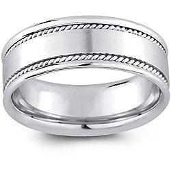 14k White Gold Menu0027s Rope Detail Comfort Fit Wedding Band (8 ...