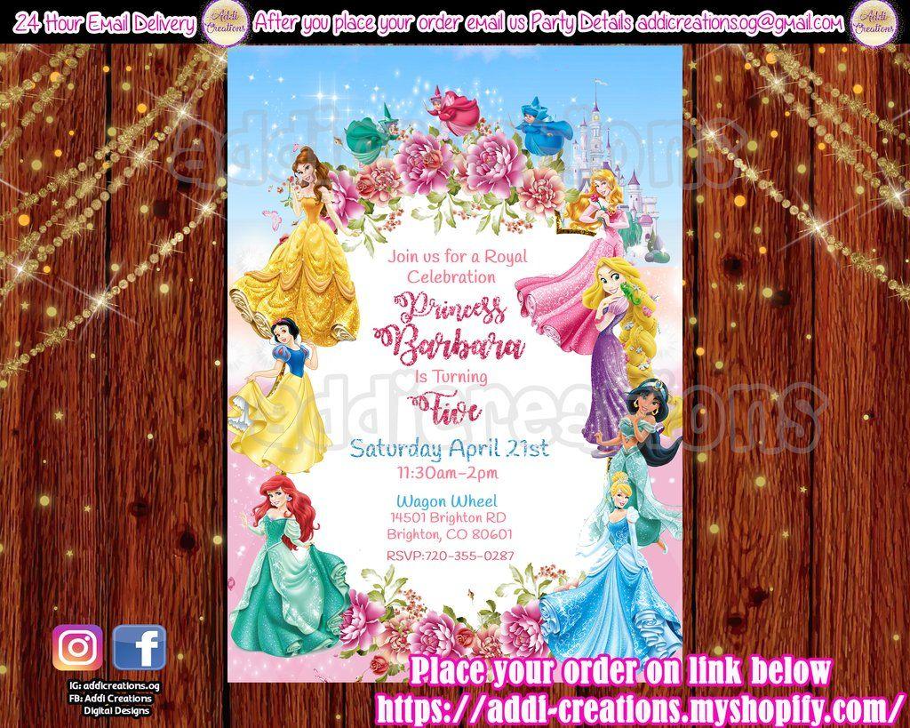 Personalised Birthday Party Invitations Disney princess Snow white  8 cards