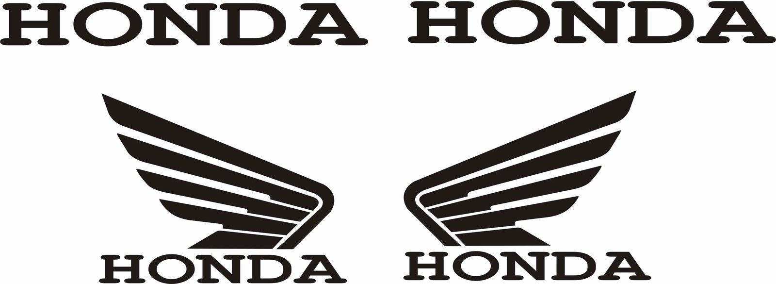 Honda Wings Decal Stickers Custom Sizes & Colors SET of 4