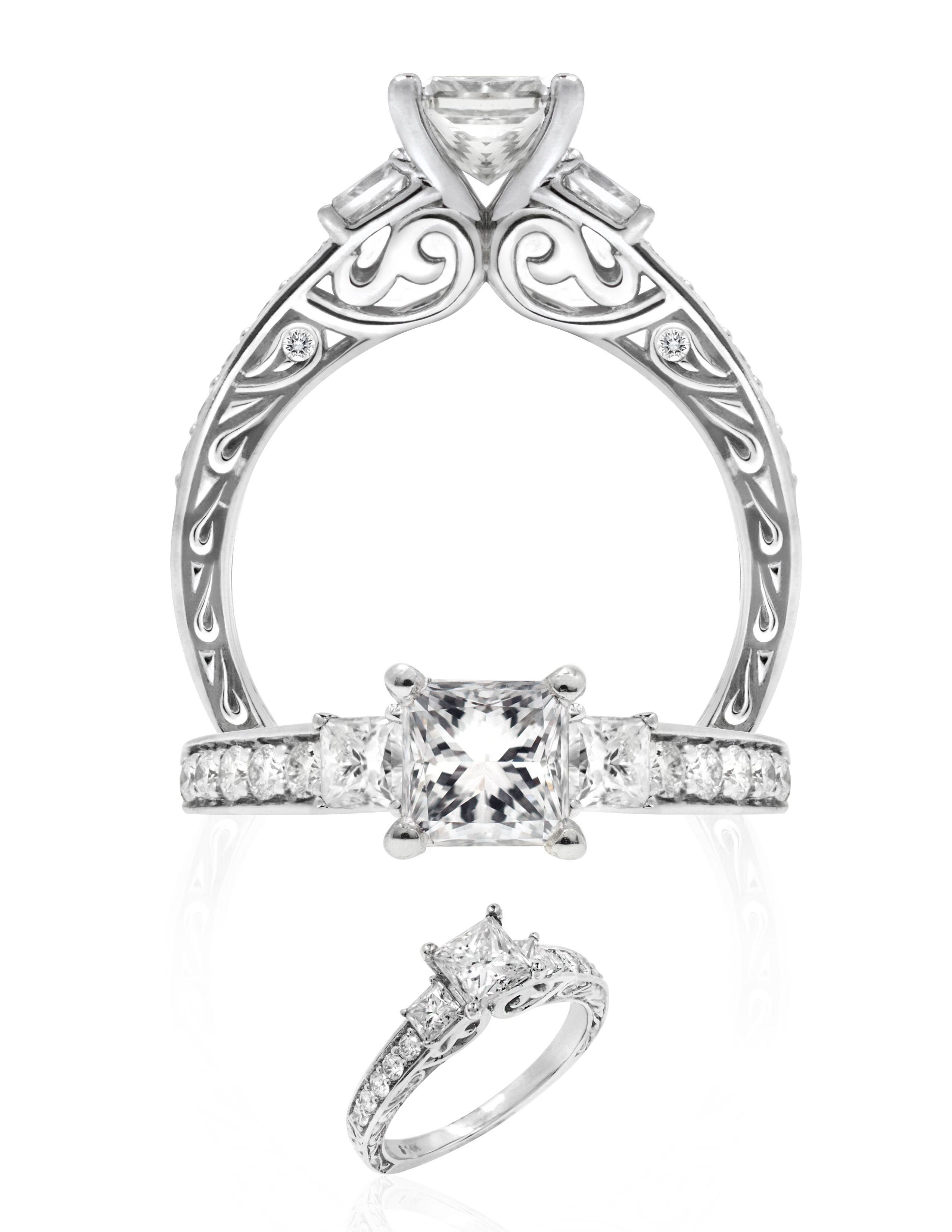 Kapili alohi comes in k white gold and ct center princess stone