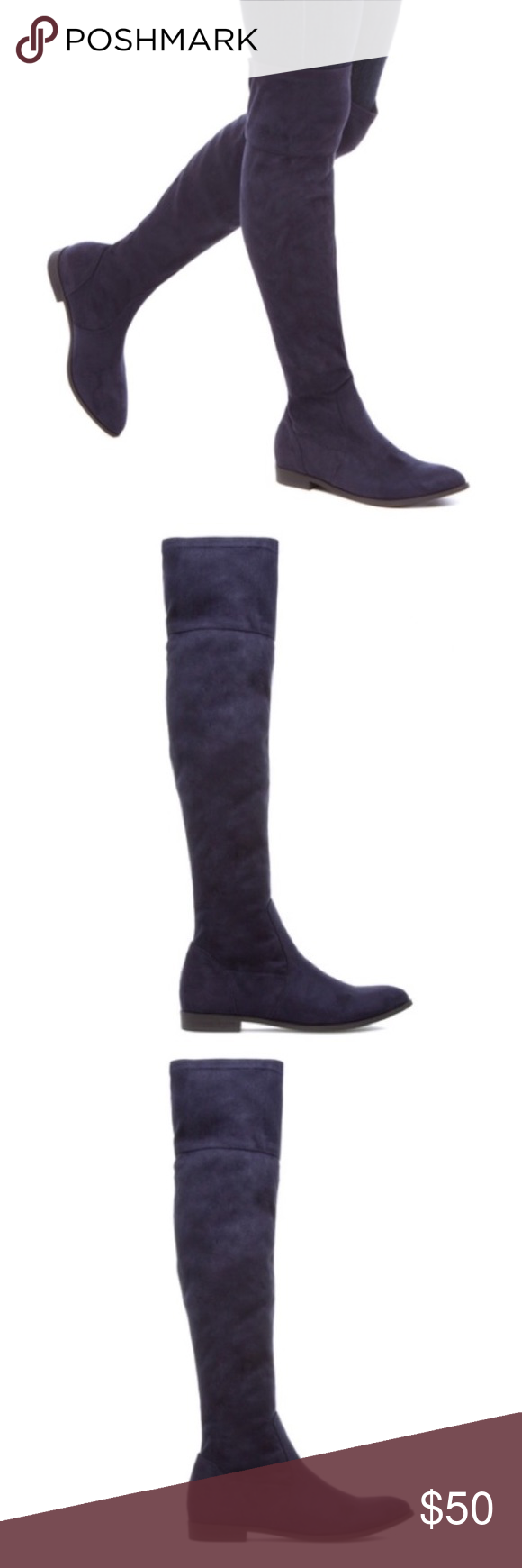 a803b0d8b Navy blue knee high boots women s size 8 Brand new Shoe Dazzle Shoes Over  the Knee Boots