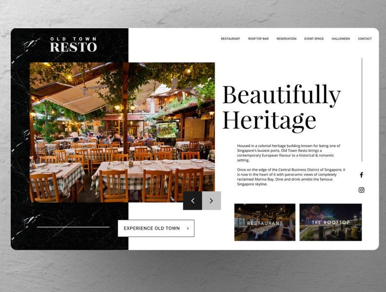 Old Restaurant Website Concept