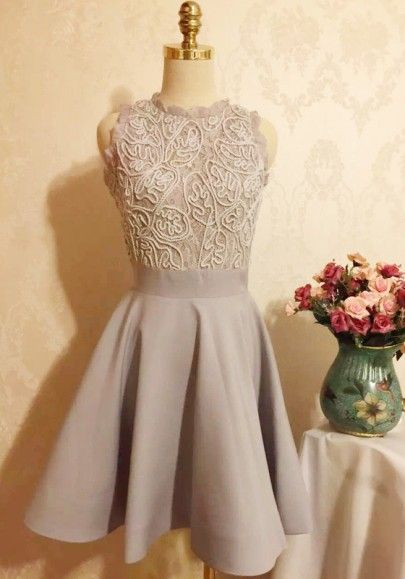 Grey Patchwork Lace Pleated Bridesmaid Dresses Cute Party Dresses Homecoming Lace Dress Sweet Mini Dress