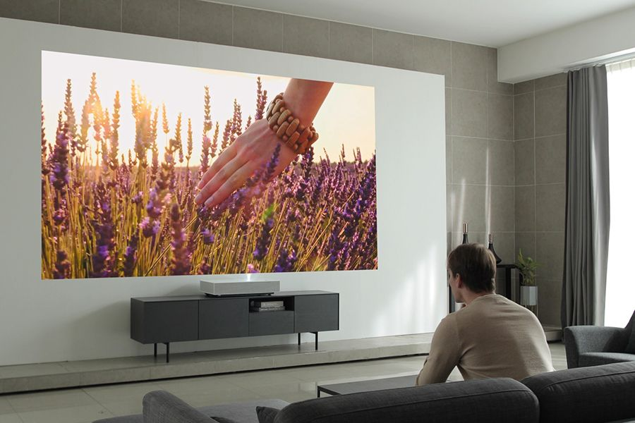 Head To The Living Room For Your Next Movie With The Lg Cinebeam Laser 4k Projector Man Of Many Projector Wall Home Cinema Projector Short Throw Projector