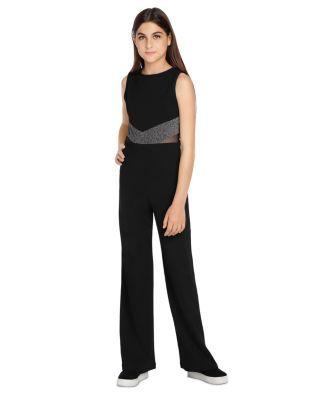 Sally Miller Girls' Allie Sparkle Inset Jumpsuit - Big Kid - Black #sallymiller