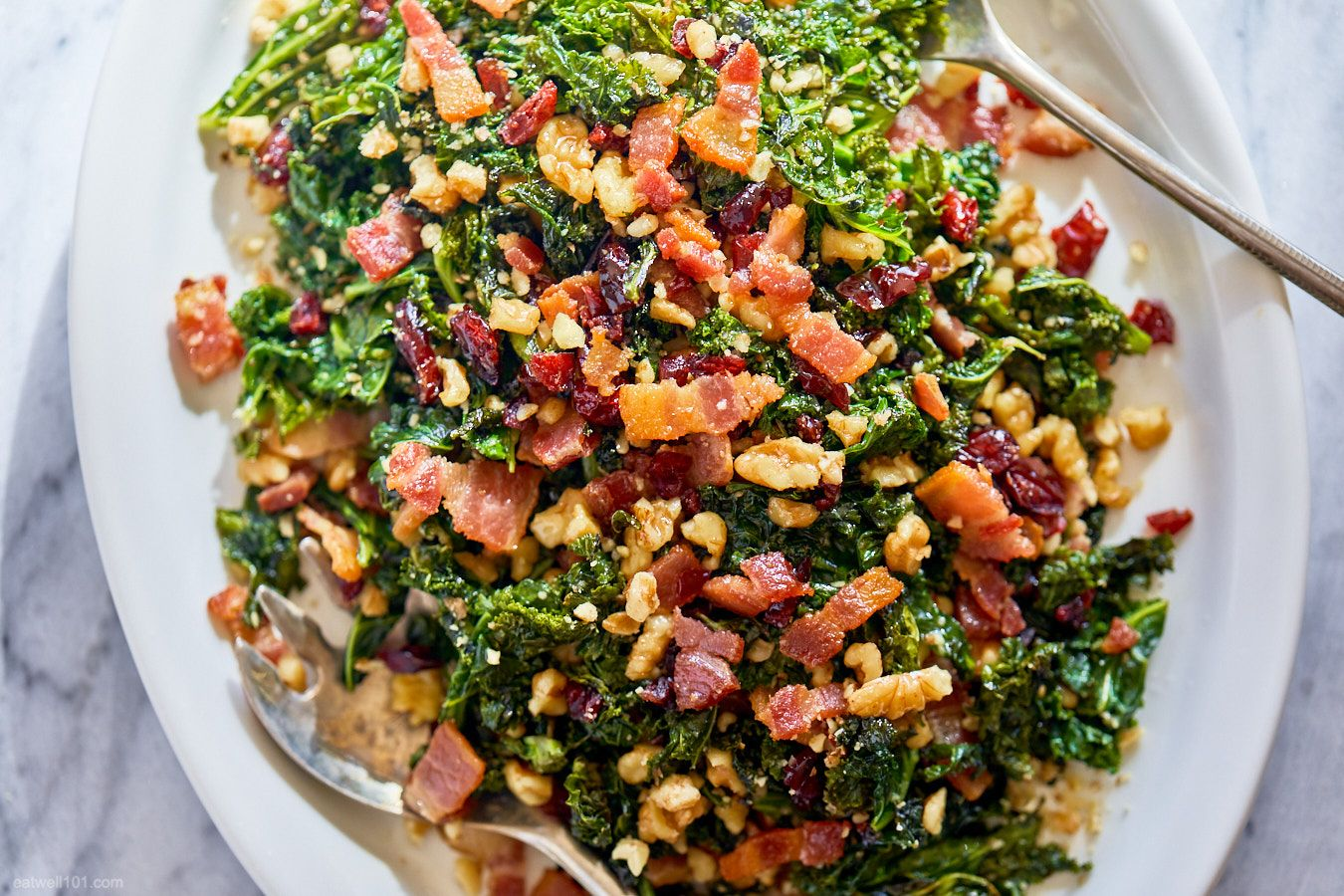 Healthy Sautéed Kale Salad with Bacon, Walnuts and Cranberries