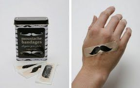 Mustache bandaids: for the hurting gentleman. <-- funny gift
