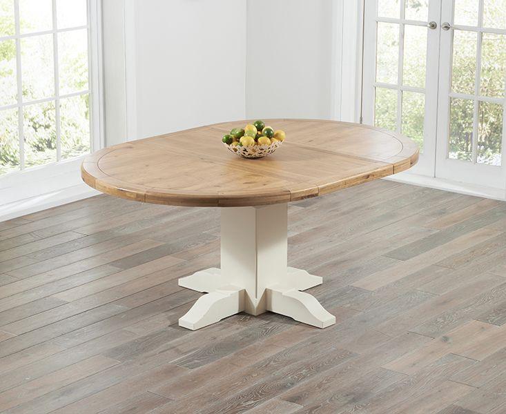 Torino Solid Oak U0026 Cream Round Extending Pedestal Dining Table