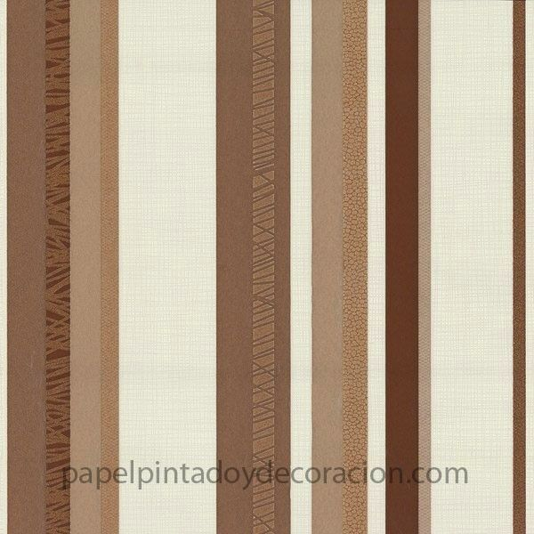 Papel pintado rayas beige y tonos marrones efecto for Papel pintado tonos marrones