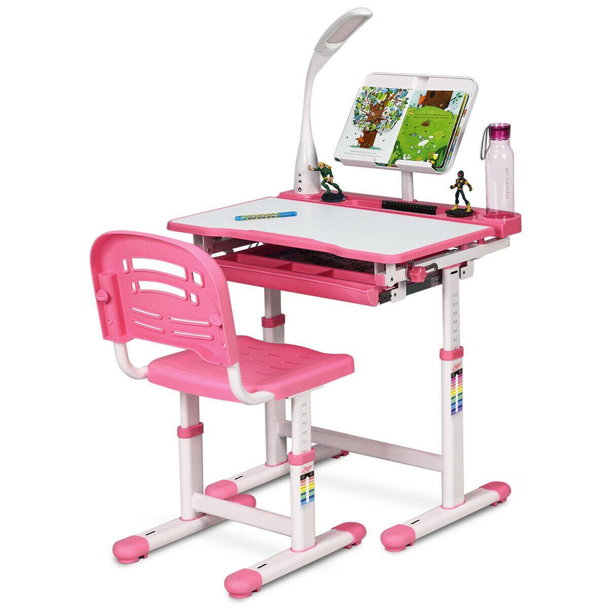 Gymax Height Adjustable Kids Desk Chair Set Study Drawing W Lamp Bookstand Pink Walmart Com Kids Desk Chair Desk And Chair Set Adjustable Height Desk Chair Child desk and chair set