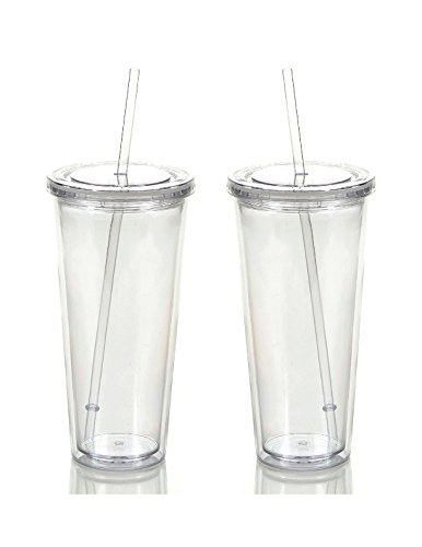 Reusable Double Wall Insulated Acrylic Tumbler Cups With Straw And Lid 2 Set Package 24 Oz Clear Straws Cup With Straw Tumbler Cups Acrylic Tumblers