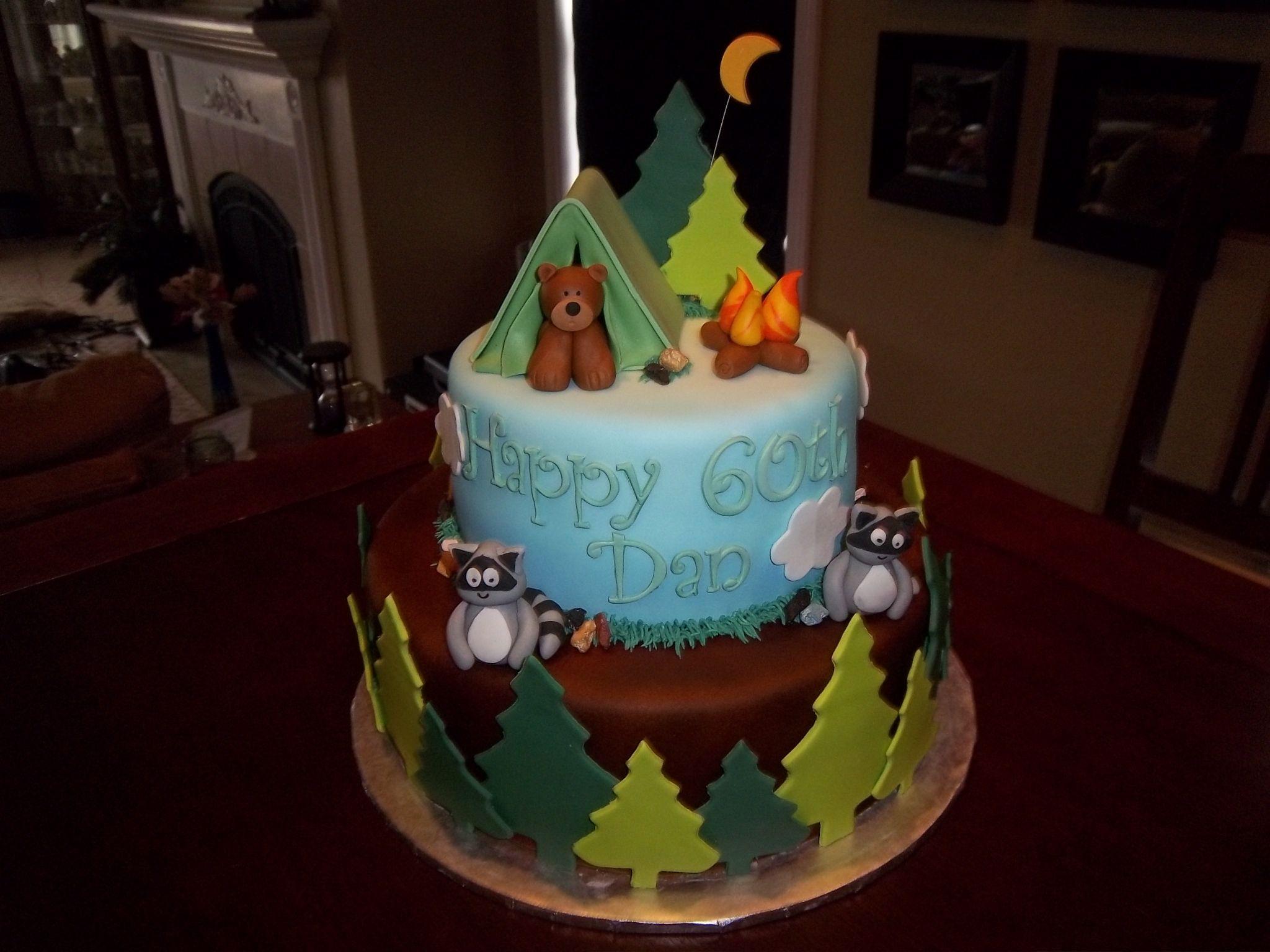 Fantastic Camping Theme 60Th Birthday Cake With Images Camping Birthday Funny Birthday Cards Online Bapapcheapnameinfo