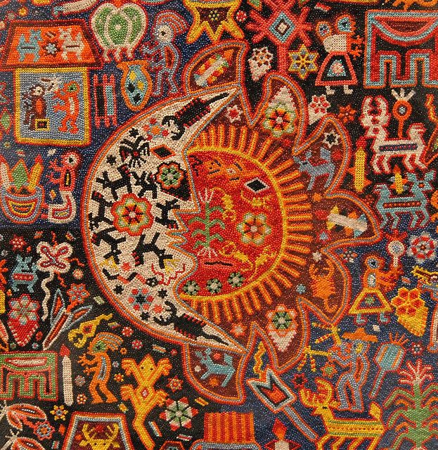 This Huichol work of art is done in the yarn painting style, but the designs are created with seed beads impressed in wax rather than yarn or thread. Popular Arts Museum, Mexico City