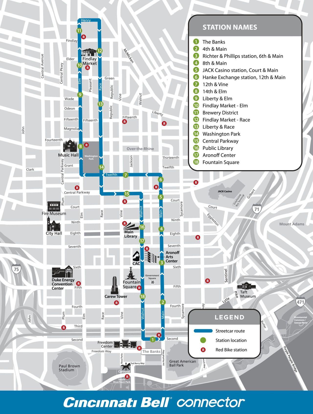 Official Map Cincinnati Bell Connector Streetcar Map Transit