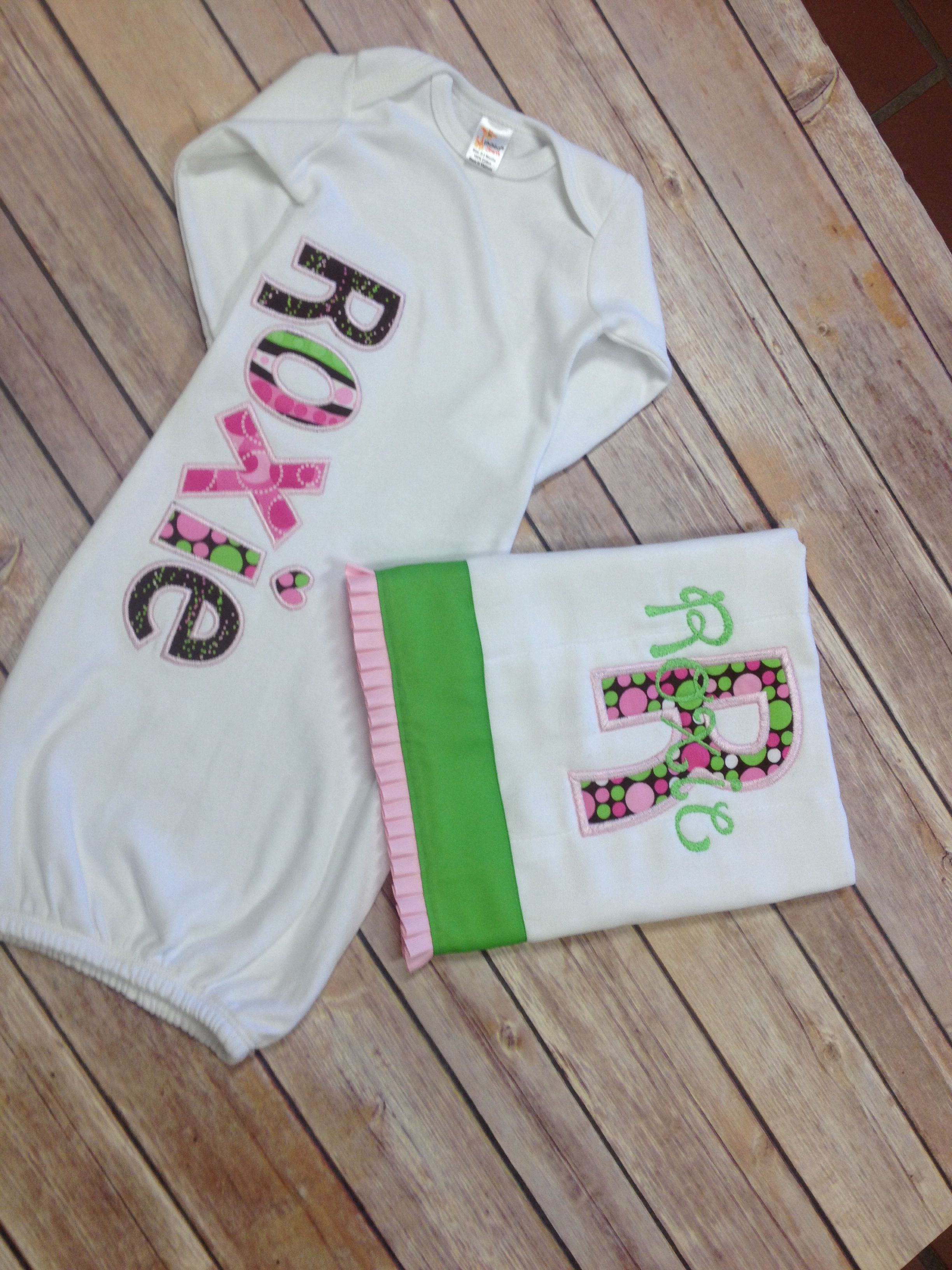Baby Gown and Burpcloth