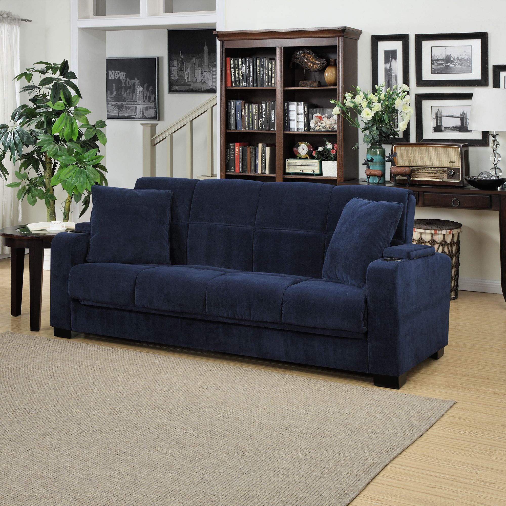 Blue Velvet In A Sleeper Sofa Yes Please Consider Adding The Style Points And Functionality Of This Piece To Your Basement R Couch Storage Handy Living Sofa