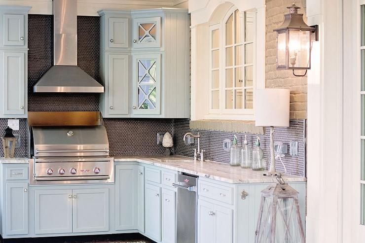 Best Blue Kitchen Cabinets With Fantasy Brown Granite 400 x 300