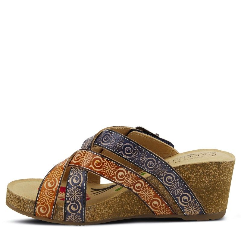 L'artiste by Spring Step Women's Thevana Wedge Sandals (Navy/Multi Leather)