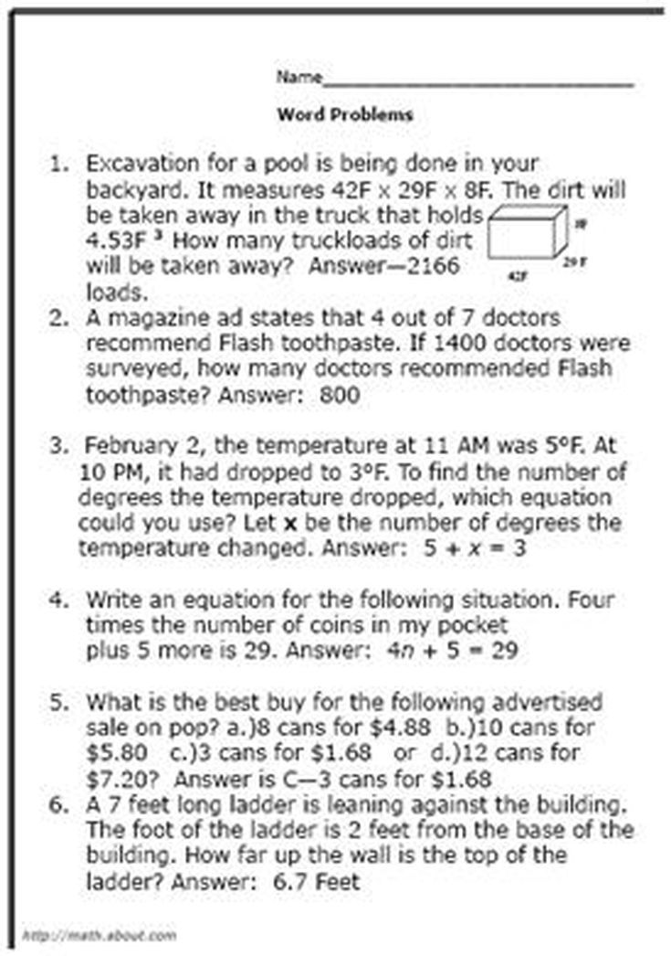 What Are Some Good Math World Problems for 8th-Graders?   Math word ...