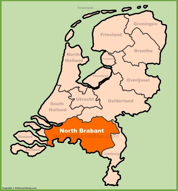 North Brabant location on the Netherlands map Maps Pinterest