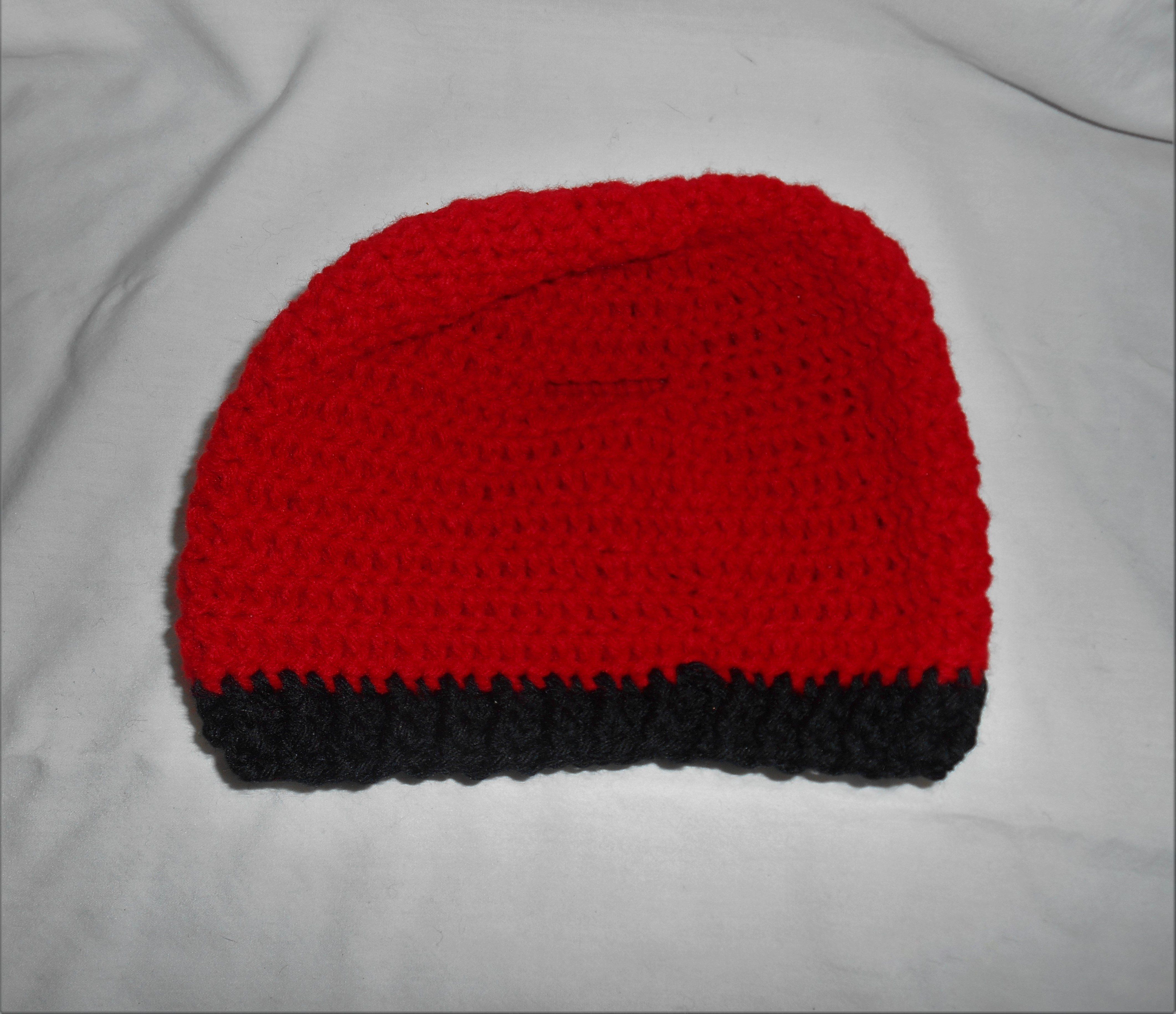 Crochet Ponytail Beanie Hat Red with Black Trim sz med-lg